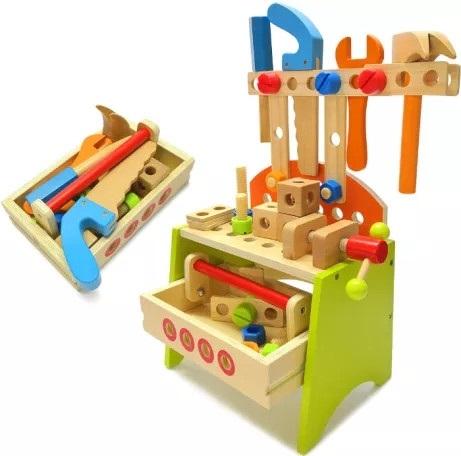 Detský pracovný stôl s nástrojmi drevený 9421