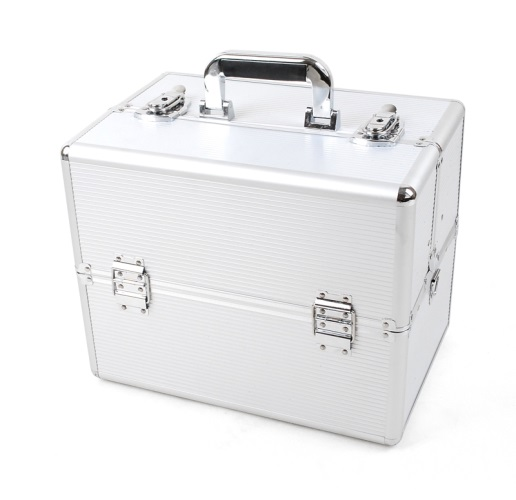 Kosmetický kufřík 36x25x24 cm, stříbrná