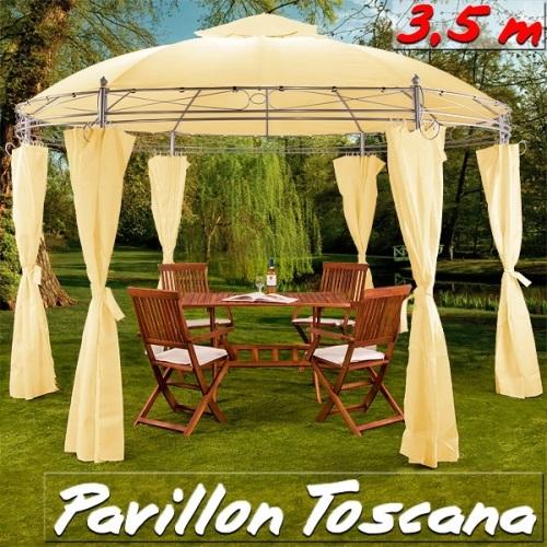 Záhradný altánok Pavilón TOSCANA priemer 350cm béžová