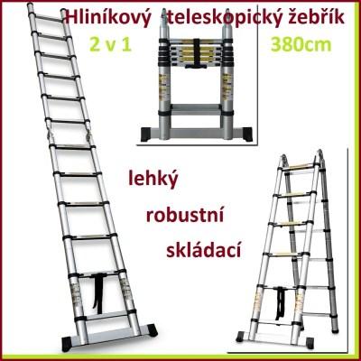 Teleskopický žebřík 3,8 m HOCH-380DE 2 v 1