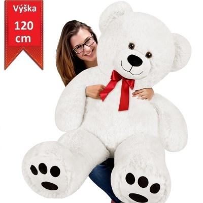 Velký bílý plyšový medvěd 120 cm - XXXL plyšák bílý