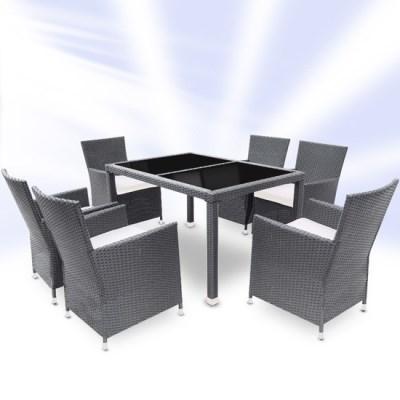 Zahradní ratanový nábytek TAMARA > varianta šedá/černý stůl