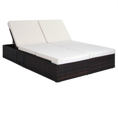 Ratanová zahradní postel dvojlůžko GRETA hnědá