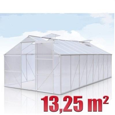 SKLENÍK HLINÍKOVÝ GWH 13,25 m2 s 4mm polykarbonátem