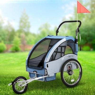 Vozík za kolo pro děti Jogger INFANTASTIC 2v1 odpružený modrý