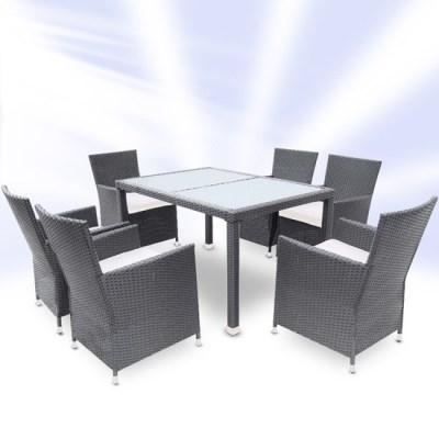 Zahradní ratanový nábytek TAMARA > varianta šedá/bílý stůl