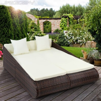 Ratanová zahradní postel dvojlůžko GABRIELA hnědá