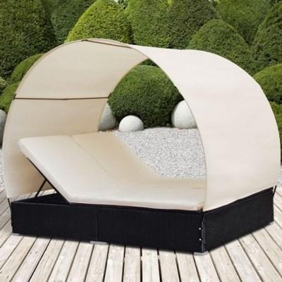 Ratanová zahradní postel dvojlůžko DANIELA černá