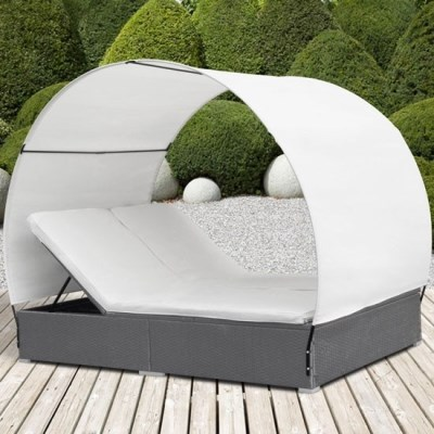 Ratanová zahradní postel dvojlůžko DANIELA šedá