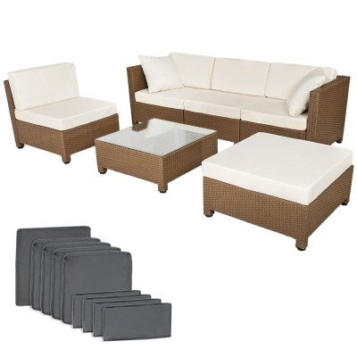 Zahradní ratanový nábytek SILVIE černo-béžová