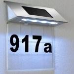 Domovní číslo solární LED osvětlení DEU 333 nerez/transparent