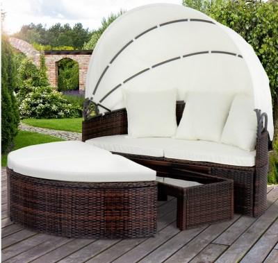 Ratanová zahradní postel PRIMA LUXUS hnědá