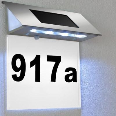 Domovní číslo solární LED osvětlení DEU 592, nerez/bílá