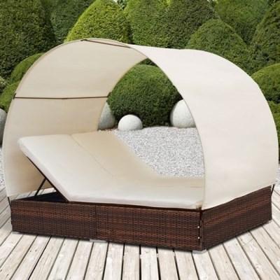 Ratanová zahradní postel dvojlůžko DANIELA