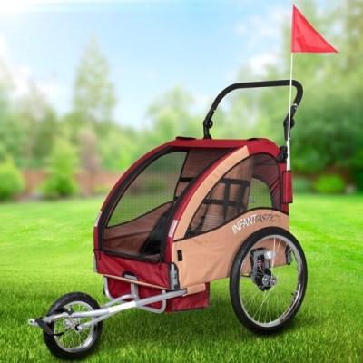 Vozík za kolo pro děti Jogger INFANTASTIC 2v1 odpružený béžový
