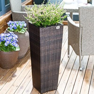Ratanový květináč BEN02 set-3 kusy hnědá výška 40cm 60cm 80cm