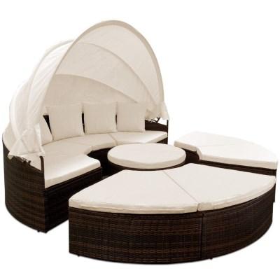 Ratanová zahradní postel ISLAND DEU XXL max hnědá 230cm