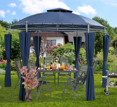 Zahradní altán pavilon Deuba TOSCANA průměr 350cm modrá