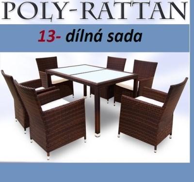Ratanový nábytek TAMARA 13-dílná hnědá
