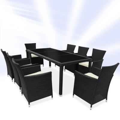 Zahradní ratanový nábytek DARJA 17-dílná sedací souprava černá černý stůl