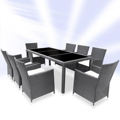 Zahradní ratanový nábytek DARJA 17-dílná sedací souprava šedá černý stůl