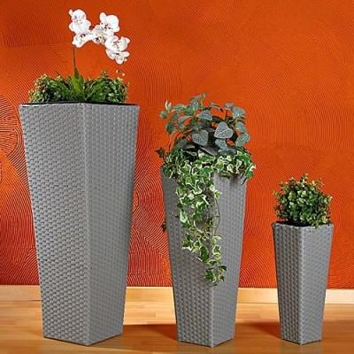 Ratanový květináč BEN03 set-3 kusy šedá výška 40cm 60cm 80cm