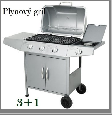 Plynový zahradní GRIL Broil-Master BBQ 3+1 stříbrná