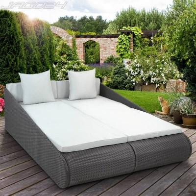 Ratanová zahradní postel dvojlůžko GABRIELA šedá