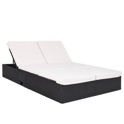 Ratanová zahradní postel dvojlůžko GRETA černá