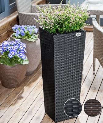 Ratanový květináč BEN02 set-3kusy černá výška 40cm 60cm 80cm
