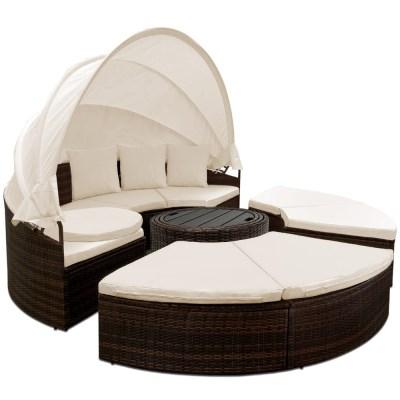 Ratanová zahradní postel ISLAND DEU XXL hnědá 185cm