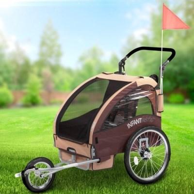 Vozík za kolo pro děti Jogger INFANTASTIC 2v1 odpružený hnědá
