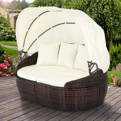 Ratanová zahradní postel MANILA hnědá