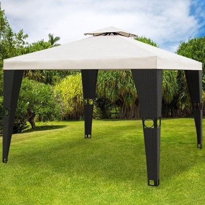 Zahradni altán pavilon DEU LUXUS polyratan > 3x3m černá