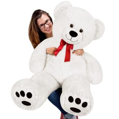 Velký bílý plyšový medvěd 130 cm - XXXL plyšák bílý