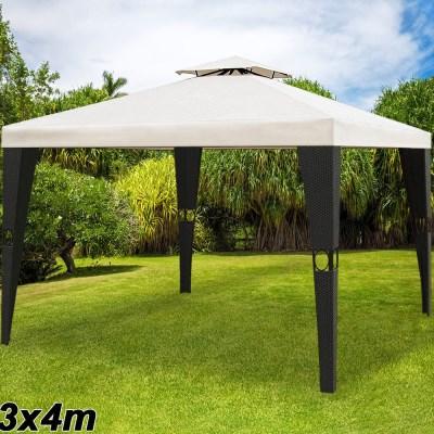 Zahradni altán pavilon DEU LUXUS XXL polyratan >3x4m černá