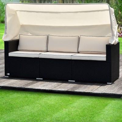 Ratanová zahradní postel LUZON černá