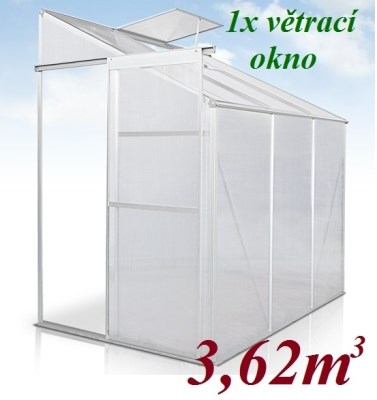 Skleník GWH03/02 JAGO 3,62m3 s polykarbonátem